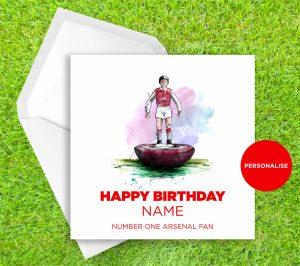 Arsenal, Subbuteo, personalised birthday card