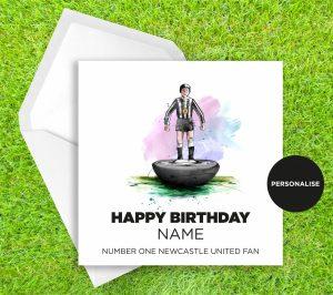 Newcastle United, Subbuteo, personalised birthday card