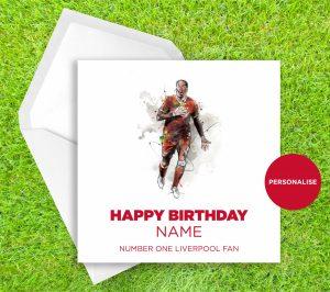 Liverpool FC, Virgil Van DijK, personalised birthday card