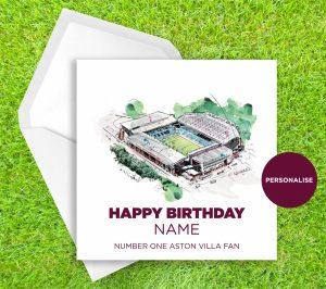 Aston Villa, Villa Park, personalised birthday card