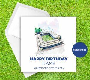 Everton, Goodison Park, personalised birthday card