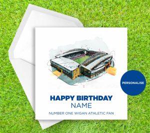 Wigan Athletic, Dw Stadium, personalised birthday card