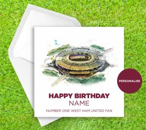 West Ham United, London Stadium, personalised birthday card
