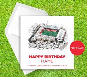 Sheffield United, Bramall Lane, personalised birthday card