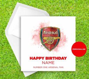 Arsenal, Badge, personalised birthday card