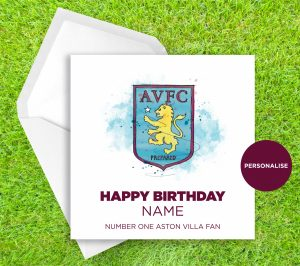 Aston Villa, Badge, personalised birthday card