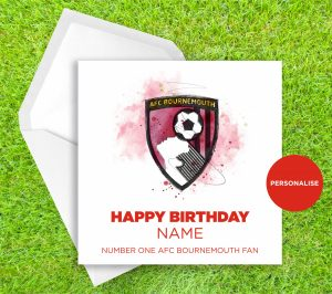 AFC Bournemouth, Badge, personalised birthday card