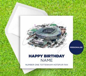 Tottenham Hotspur Stadium, personalised birthday card