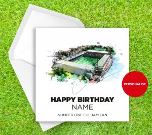 Fulham, Craven Cottage, personalised birthday card
