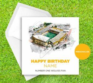 Wolverhampton Wanderers, Molineux Stadium, personalised birthday card