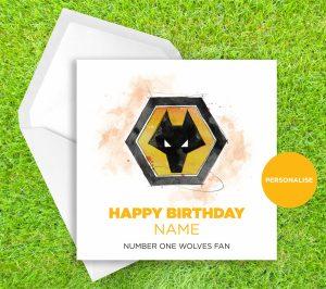 Wolverhampton Wanderers, Badge, personalised birthday card