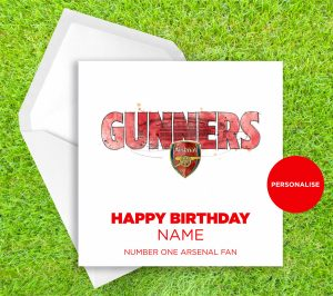 Arsenal, Gunners, personalised birthday card