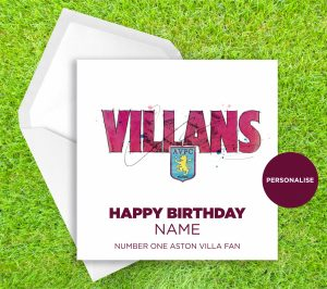 Aston Villa, Villans, personalised birthday card