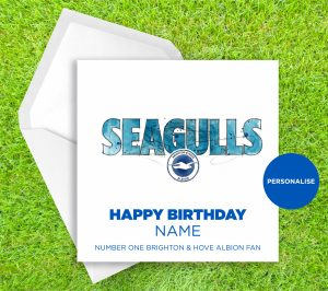 Brighton and Hove Albion, Seagulls, personalised birthday card