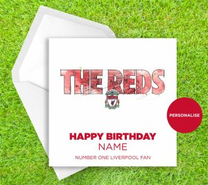 Liverpool FC, The Reds, personalised birthday card