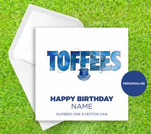 Everton, Toffees, personalised birthday card