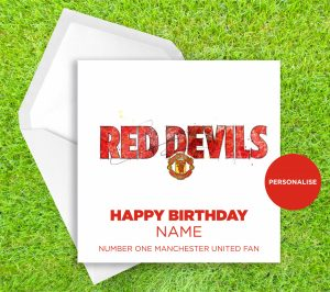 Manchester United, Red Devils, personalised birthday card