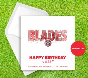 Sheffield United, Blades, personalised birthday card