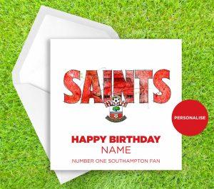 Southampton, Saints, personalised birthday card