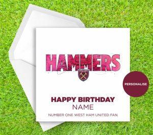 West Ham United, Hammers, personalised birthday card