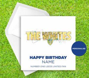 Leeds United, Whites, personalised birthday card