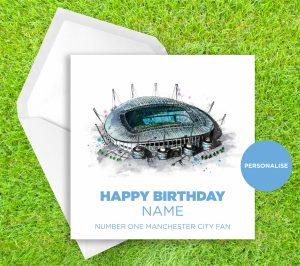 Manchester City, Etihad Stadium, personalised birthday card