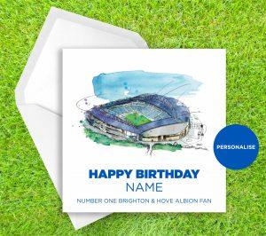 Brighton and Hove Albion, Amex Stadium, personalised birthday card