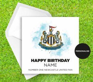 Newcastle United, Badge, personalised birthday card