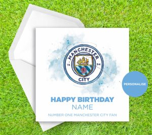 Manchester City, Badge, personalised birthday card