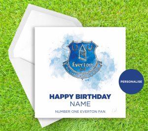 Everton, Badge, personalised birthday card