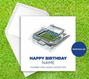 Leeds United, Elland Road, personalised birthday card