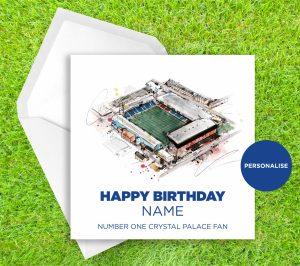 Crystal Palace, Selhurst Park, personalised birthday card