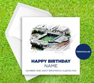 West Bromwich Albion, The Hawthorns, personalised birthday card