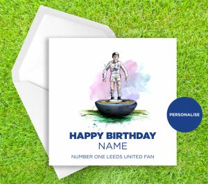 Leeds United, Subbuteo, personalised birthday card