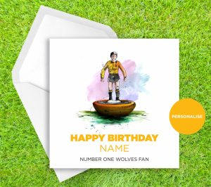 Wolverhampton Wanderers, Subbuteo, personalised birthday card