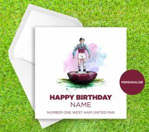 West Ham United, Subbuteo, personalised birthday card