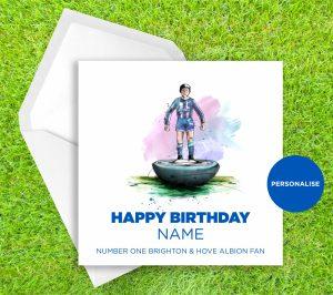 Brighton and Hove Albion, Subbuteo, personalised birthday card