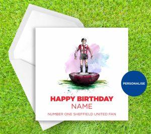 Sheffield United, Subbuteo, personalised birthday card
