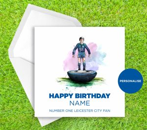 Leicester City, Subbuteo, personalised birthday card