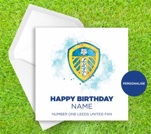 Leeds United, Badge, personalised birthday card