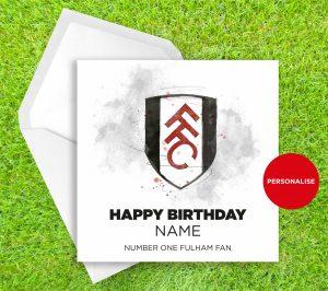 Fulham, Badge, personalised birthday card