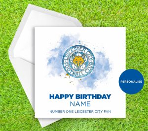 Leicester City, Badge, personalised birthday card
