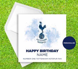 Tottenham Hotspur, Badge, personalised birthday card