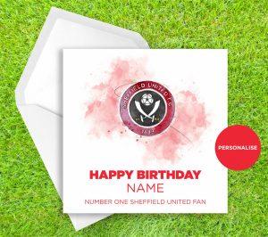 Sheffield United, Badge, personalised birthday card