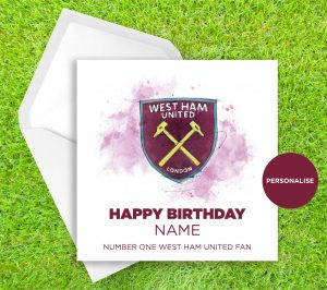West Ham United, Badge, personalised birthday card