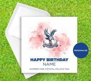 Crystal Palace, Badge, personalised birthday card
