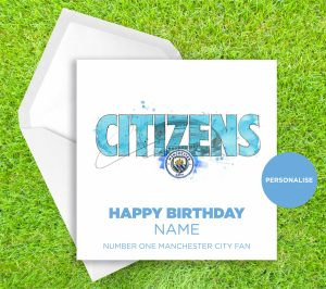 Manchester City, Citizens, personalised birthday card