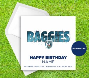 West Bromwich Albion, Baggies, personalised birthday card