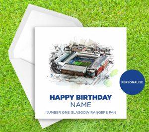 Glasgow Rangers, Ibrox Stadium, personalised birthday card