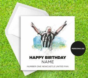 Newcastle United, Alan Shearer, personalised birthday card